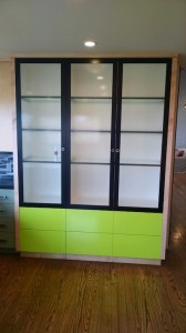 Lime green parapan w etched glass and black metal doors