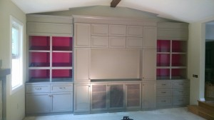 painted TV and book case w metal inserts